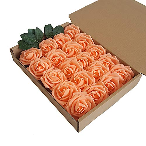 Eternal Blossom Artificial Flower Rose 8cm, Fake Flower Stem 20pcs Real Touch Artificial Roses for DIY Bouquets Wedding Party Home Decorations (Orange)