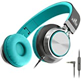 Artix Foldable Headphones with Microphone and Volume Control | NRGSound CL750 On-Ear Stereo Earphones | Great for Adults/Teens / Kids (Turquoise/Gray)
