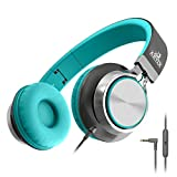 Artix CL750 Foldable Headphones with Microphone and Volume Control, On-Ear Stereo Earphones, Headset for Cellphones Tablets Smartphones Laptop Computer (Mint/Gray)
