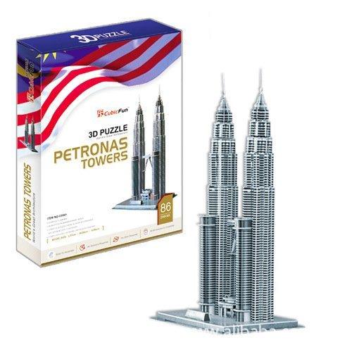 Petronas Towers Kuala Lumpur 88pcs MC084h 3D Puzzles Cubic Fun World's Great (Lumpur Tower)