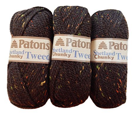 Patons Shetland Chunky Yarn ( 3 Pack) Bulky Acrylic Wool Blend Pattern for Scarf and  Hat Included ( Earthy Brown )