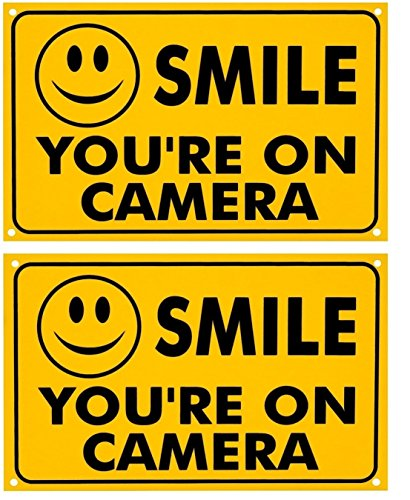 2 Pcs Optimum Popular Smile You are on Camera Yard Sign Anti-Burglar Anti-Thief Being Watched Dimension 7