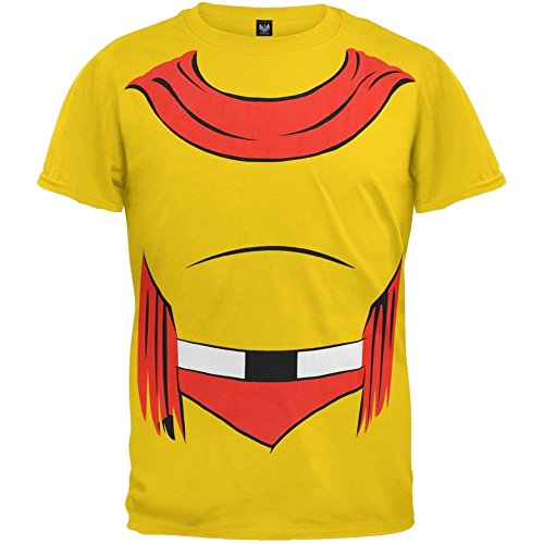[Mighty Mouse - Mens Man Or Mouse Body Costume T-shirt Large Yellow] (Mighty Mouse Costumes)