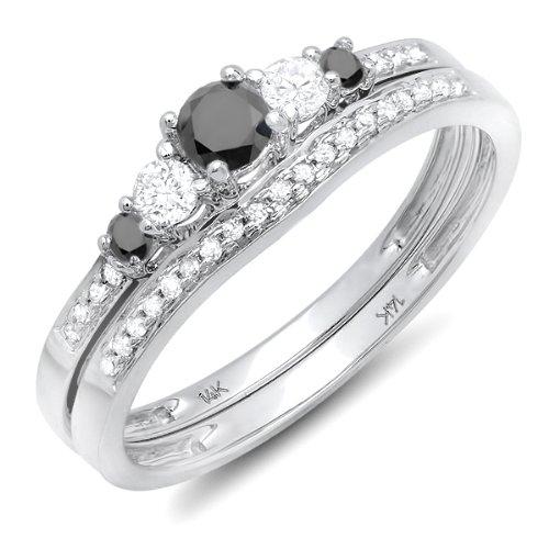 Dazzlingrock Collection 0.45 Carat (ctw) 14k Round Black And White Diamond Ladies 5 Stone Bridal Engagement Ring Matching Band Set 1/2 CT, White Gold, Size 5 (Gold Band Diamond Engagement Ring)