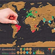 AHUIM Scrape World Map Deluxe Travel Scratch World Map Travel Map Poster Scratch Off World Map Gift for Traveler
