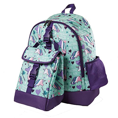 Fit & Fresh Elena Backpack for Kids with Matching Insulated Lunch Bag, School, Play, Girls, Aqua Unicorns -