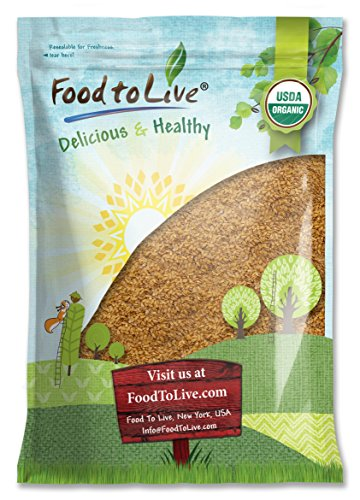 Organic Golden Flaxseed (Whole, Raw, Non-GMO, Kosher, Bulk) by Food to live  8 Pounds
