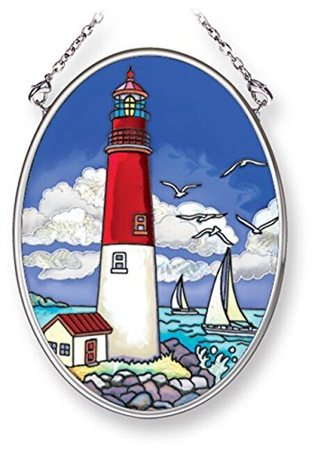 Amia Red and White Lighthouse, Hand-Painted Glass Suncatcher, 3-1/4 Inches High, 42245 - Lighthouse Suncatcher