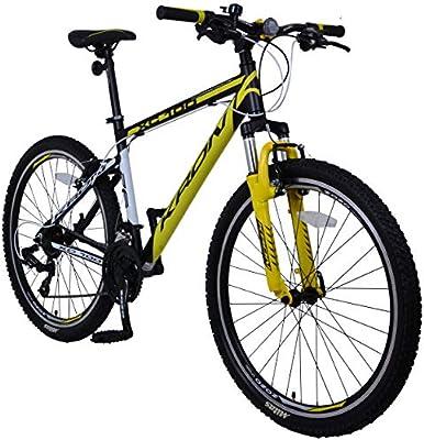 KRON XC-100 Hardtail - Bicicleta de montaña de Aluminio, 26 Pulgadas, 21 Marchas, Cambio Shimano con Freno en V, Cuadro de 16 Pulgadas, Bicicleta de montaña para Adultos y jóvenes, Schwarz &