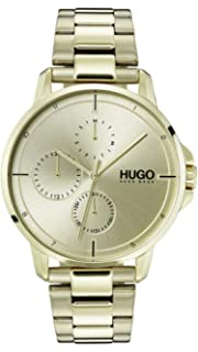 Hugo Mens #Focus Quartz Ice Gold IP and Ice Gold Bracelet Casual Watch, Color