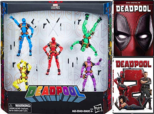 Class Action Pack - Foul Mouthed Marvel Deadpool Super Hero Pack Deadpool with Gag Reel (DVD) + Movie Part 2 Double Feature & Rainbow 5-Pack Legends Figures Comic Book Mega Blast