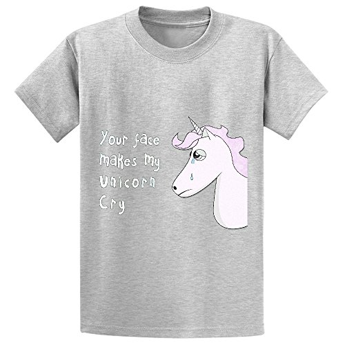 Likeu Your Face Makes My Unicorn Cry Girls Cotton Crew Neck T Shirts Grey (Stephen King 2015 Calendar Book)