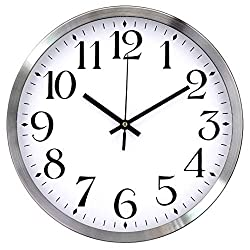 TopOne Silent Wall Clock,Battery Operated 12 inch Accurate Sweep Movement Silver Aluminum Quartz Kitchen/Home/School Patio Decor(Silver)