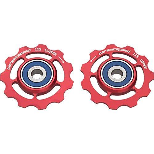 Image of CeramicSpeed 11 Speed Aluminum Pulley Wheels Red, SRAM, 11 Speed
