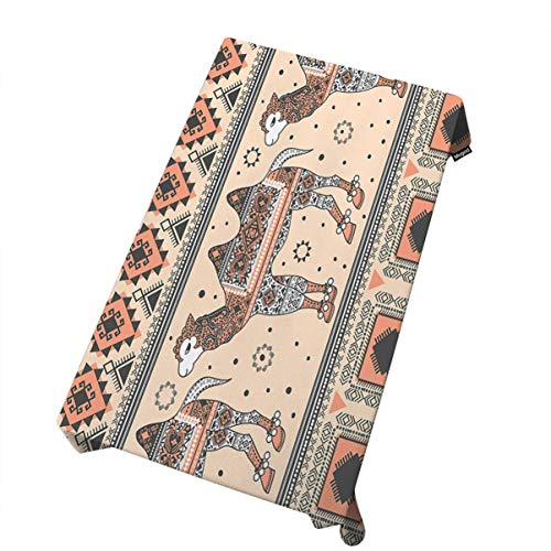 Price comparison product image Mugod Camel and Bedouin Tablecloth African Tribal Ornaments Bohemian Style Pattern Print Dining Room Kitchen Decoration Rectangular Table Cover 60 W X 90 L Inches