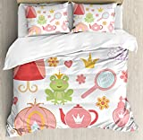 Kids Decor Queen Size Duvet Cover Set by Ambesonne, Princess Tiara Tea Party Mirror Teapot Tea Party Frog Crown Fairy Cupcake Girls, Decorative 3 Piece Bedding Set with 2 Pillow Shams