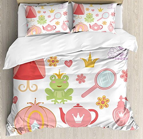 Kids Decor Queen Size Duvet Cover Set by Ambesonne, Princess Tiara Tea Party Mirror Teapot Tea Party Frog Crown Fairy Cupcake Girls, Decorative 3 Piece Bedding Set with 2 Pillow Shams by Ambesonne