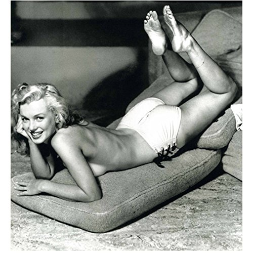 Marilyn Monroe Posing Laying Down on Couch Cushions 8 x 10 Inch Photo