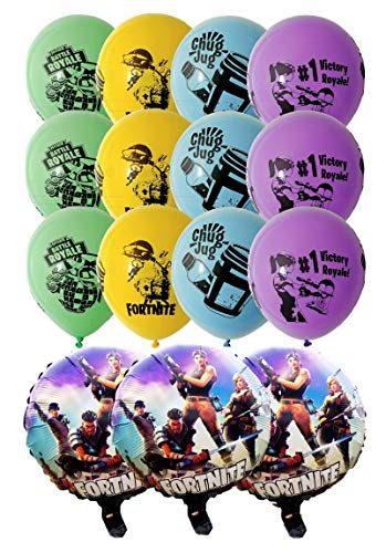 Fortnite Birthday Balloons 15pcs - 12 Latex and 3 Foil Balloons Fortnite Party Supplies Gamer Decoration