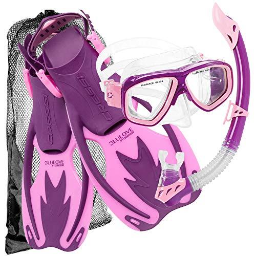 Cressi Junior Rocks Mask Fin Snorkel Set, Purple Pink, Large/X-Large
