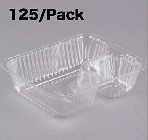 Carnival King Clear 2 Compartment Plastic Nacho Tray (Pack of 125)