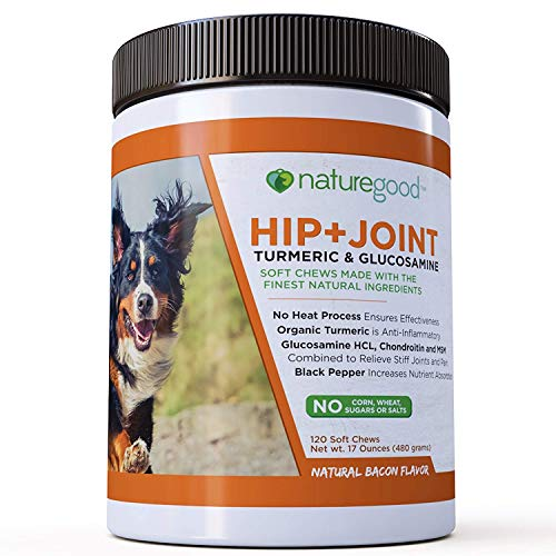 Advanced Glucosamine for Dogs | Hip + Joint | Organic Turmeric, Glucosamine, Chondroitin, and MSM | 4 Gram Soft Chews | Supports Arthritis Pain Relief | Natural Bacon Flavor | 120 Count | Made in USA by naturegood