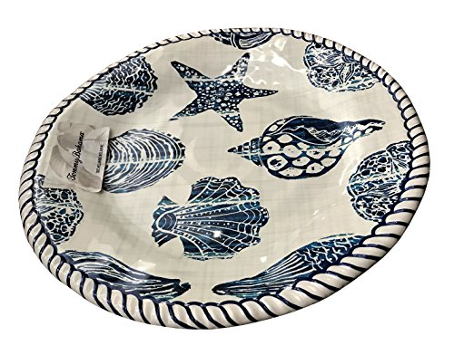 Tommy Bahama Blue Shell Rope Edge Melamine Dinner Plates (set of 4) (Tommy Outdoor Bahama Dishes)
