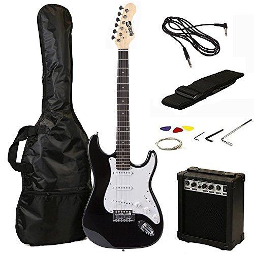 RockJam 6 ST Style Electric Guitar Super Pack with Amp, Gig Bag, Strings, Strap, Picks, Black (RJEG02-SK-BK)