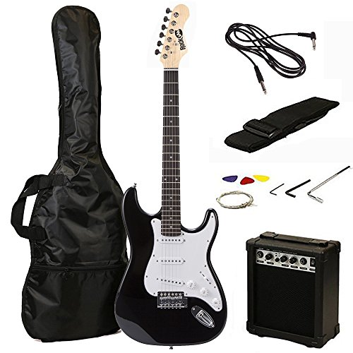 RockJam RJEG02 Electric guitar Starter Kit - Includes Amp, Lessons, Strap, Gig Bag, Picks, Whammy, Lead and Spare Strings. - Black