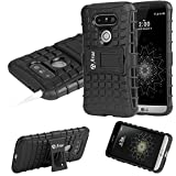 LG G5 Case, Arae LG G5 [KICKSTAND series] Hybrid Dual Layer defender Case,Anti-slip case with [ Concave-Convex Texture] Back with Shock Absorbing TPU Inner Layer for LG G5 2016 (Black)