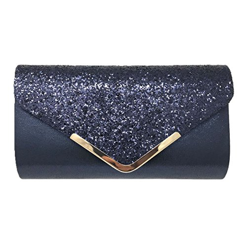 Prom Bag Ladies Wedding Womens Party Evening Navy Wedding Clutch Shimmer Blue Hotstylezone Glamour Glitter 8CZqwCB