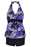 Papaya wear Halter Neck Tankini Tops Bathing Suits for Women Swimdress Boy Shorts Swimwear Feather 4XL