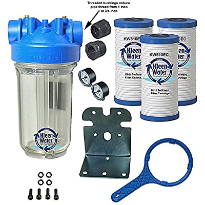 KleenWater Premier Whole House Water Filter System with 3/4 Inch Inlet/Outlet, Dirt Sediment Cartridges 4.5 x 9.75 Inch (3), Transparent Housing (1), Bracket (1), Wrench (1), Pressure Gauges (2)