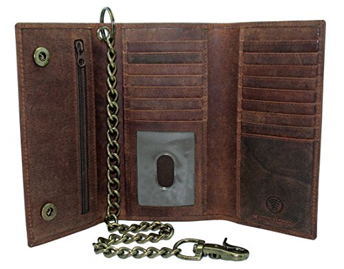 Men's New Cow Leather Crazy Horse Brown Long Checkbook Trifold Stainless Bronze Chain Wallet R.F.I.D Signal Blocking Bikers ()