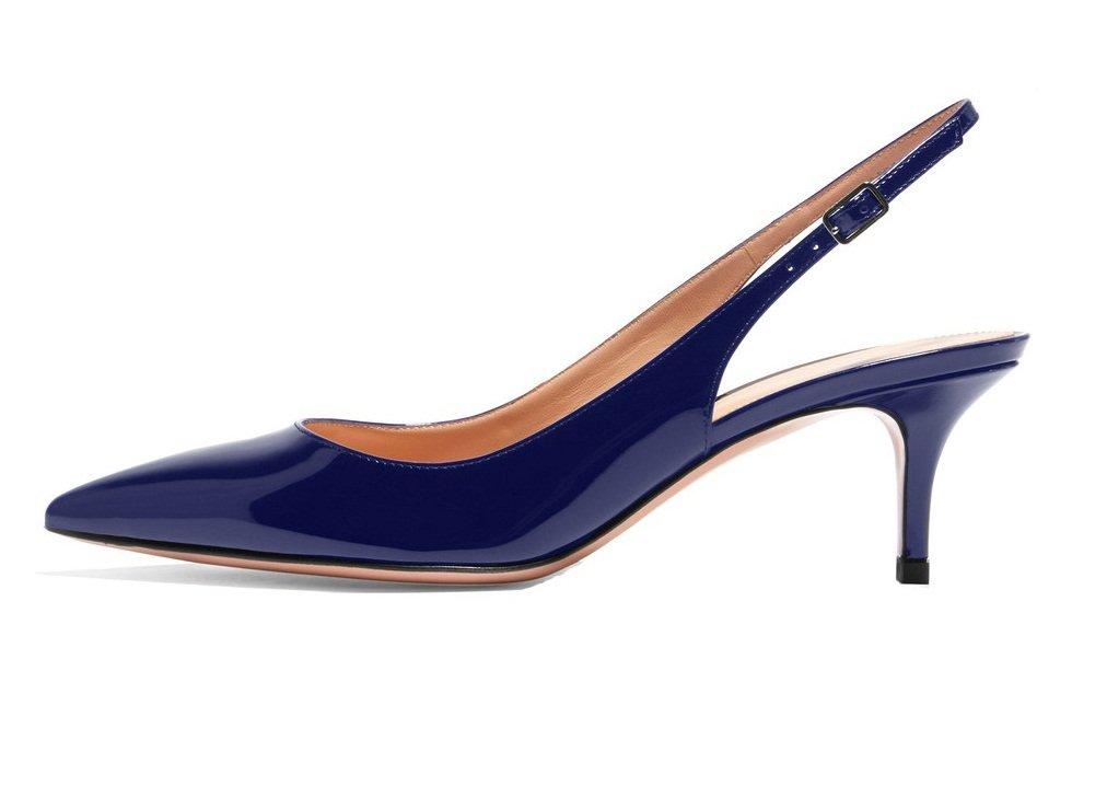 ELASHE - Zapatos de Tacón Clásicos Espigones con Hebillas y Tiras en la Parte Trasera para Mujer 35-45 EU 36 EU|Armada