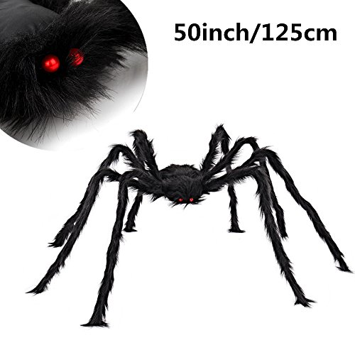 Black Giant Spider MerryMore 50 inch Large Plush Hairy Spider Halloween Props Indoor Outdoor Halloween Decorations