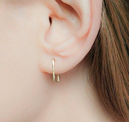rings Small Minimalist Studs 14k Gold Filled Hammered Geometric Jewelry ()