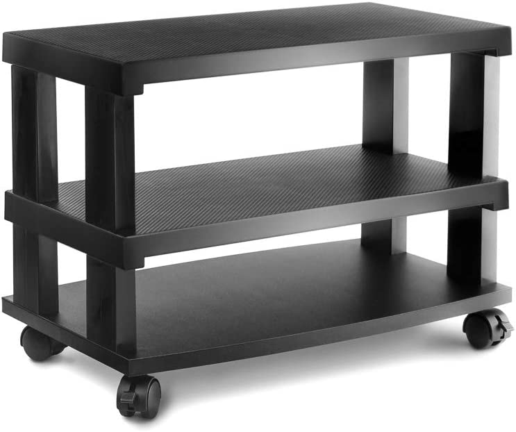 Aleratec 3-Tier LCD | LED TV Stand Entertainment Rack with Wheels