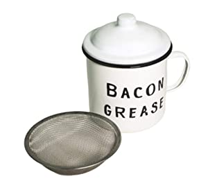 Bacon Grease Container with mesh strainer - rustic mid-century farmhouse design, enamel on metal, 4 inch x 4 inch vintage enamelware