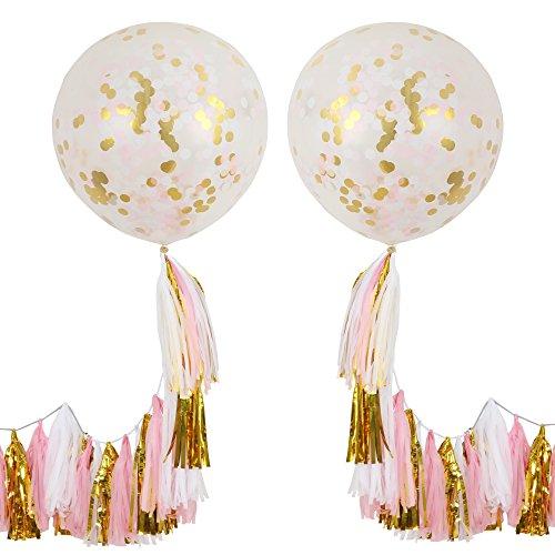 ZOOYOO 36 Gold Tissue Paper Tassels Confetti Balloons Pack of 2 (36Tassels Confetti Balloons)