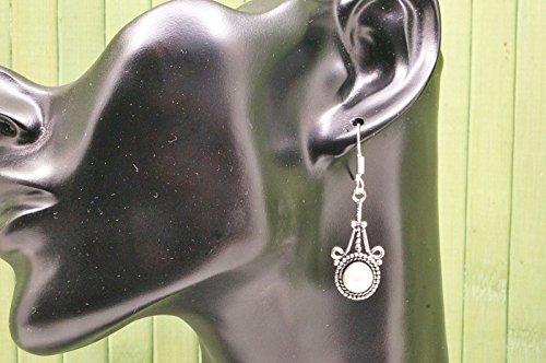 Boucles d'oreilles plaqué argent avec perle 14 mm x 47 mm