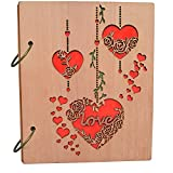 Cossyhome 4x6 Photo Album Hollow Heart Love Picture Albums Wood Photo Book 120 Pockets
