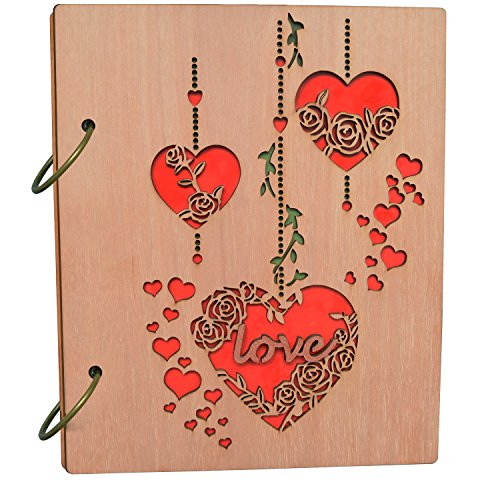 PETAFLOP 4x6 Photo Album Heart and Love Design Wooden Photo Albums 120 ()
