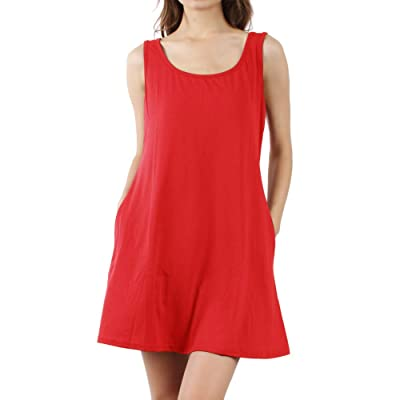 Somewell Women's Sleeveless Summer Dress, Women's Sleeveless Loose Plain Dresses Casual Long Loose Cover Up Sundress with Pockets(XL, Red) at Women's Clothing store