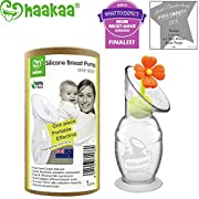 Haakaa Breast Pump with Suction Base and Flower Stopper 100% Food Grade Silicone BPA PVC and Phthalate Free (4oz/100ml) (Orange)