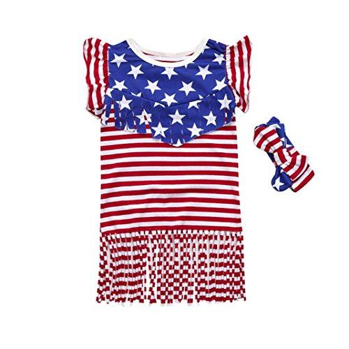 4th Of July Star Dress - Franterd Tassel Ruffles Dress for Little Girl Toddler Kids Summer American Flag Star Striped Beach Dresses (5T, Red) -