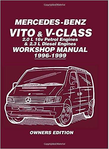 mercedes-benz vito & v-class 2 0 l 16v petrol engines and 2 3 l diesel  engines workshop manual 1996-1999: workshop manual (owners workshop manual)  paperback