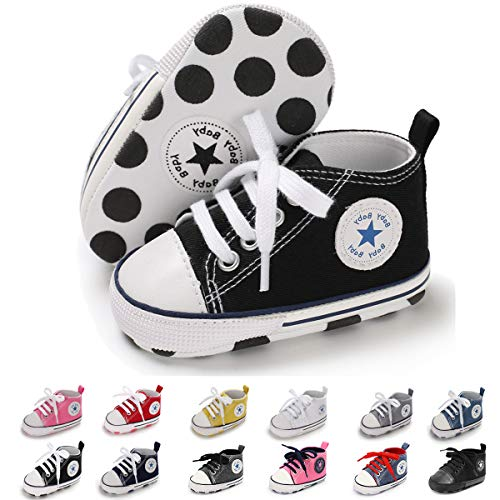 BENHERO Baby Girls Boys Canvas Shoes Toddler Infant First Walker Soft Sole High-Top Ankle Sneakers Newborn Crib Shoes (0-6 Months M US Infant),A-Black (High Top Sneaker Girls)