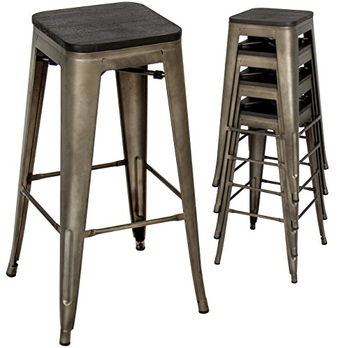 Stool Wood Finish Bronze Bar (Best Choice Products 30in Set of 4 Industrial Style Distressed Stackable Metal Bar Stools w/Wood Seats - Bronze Finish)