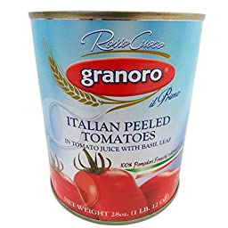 Granoro 28 Ounce Italian Peeled Tomatoes with Basil Leaf Rosso Cuoco Pack of 6 Il Primo